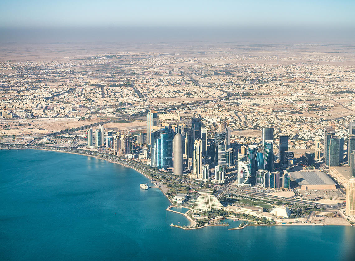 Aerial view of Doha